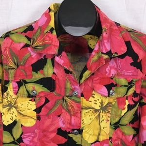 Chicos Button Jacket Size 1 (Medium) Pink Floral